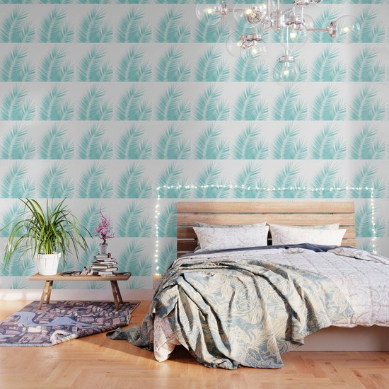 Soft Turquoise Palm Leaves Dream - Cali Summer Vibes #1 #tropical #decor #art #society6 by anitabellajantz