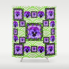 GREEN &  PURPLE PANSY ART ABSTRACT  PATTERN Shower Curtain