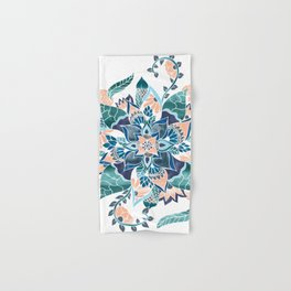 Modern coral blue watercolor floral illustration  Hand & Bath Towel