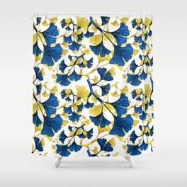 Ginko Biloba - A Blue and Yellow Nature Inspired Print Shower Curtain