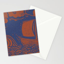 Bronze and Navy Lino-cut Wave and Boat Stationery Cards