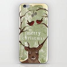 Reindeer Mistletoe Christmas Card iPhone & iPod Skin