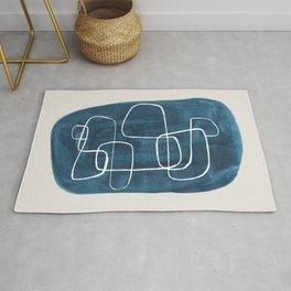 EnShape by Ejaaz Haniff 'Teal Maze' Minimalist Mid Century Modern Line Drawing Geometric Organic Color Shapes  Rug