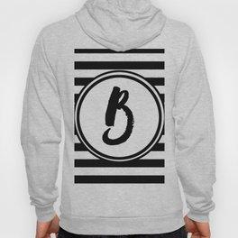 B Striped Monogram Letter Hoody