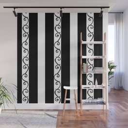 Stripes and Thorny Vines by Dark Decors - Black and Whites Wall Mural