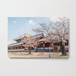 Todai-ji temple with cherry blossom Metal Print