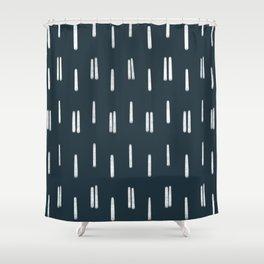 Chalk Lines || Navy Shower Curtain