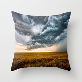 Rolling Thunder - Dramatic Storm Clouds Churn Over Golden Wheat Field in Colorado Throw Pillow