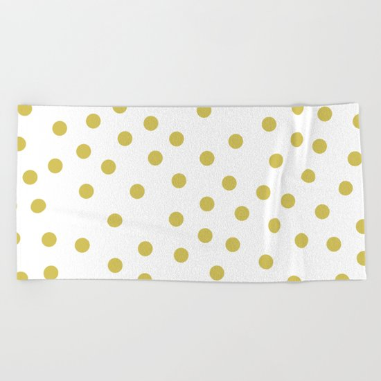 Simply Dots in Mod Yellow on White Beach Towel