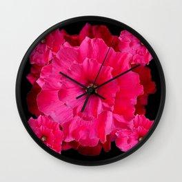 BLACK FUCHSIA-PINK  DOUBLE  HOLLYHOCK FLOWERS GARDEN Wall Clock