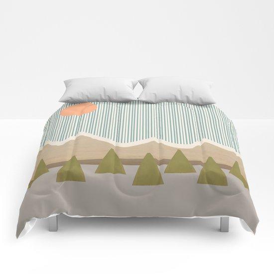 Mountaintops in the Rain Comforters