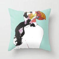 puffin Throw Pillows featuring Puffin by caseysplace