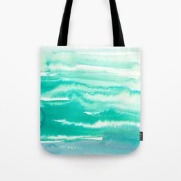 Modern hand painted teal turquoise watercolor brushstrokes Tote Bag