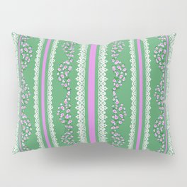 Pink Roses and Lace on Mint Pillow Sham