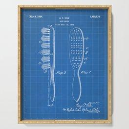 Hair Brush Patent - Salon Art - Blueprint Serving Tray