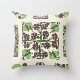 purple and green retro floral pattern Throw Pillow
