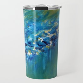 Blue and Green Abstract Travel Mug