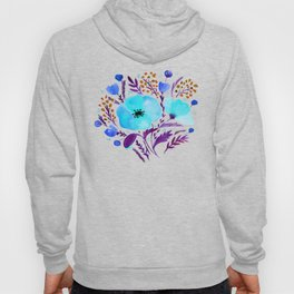 Flower bouquet with poppies - blue and purple Hoody