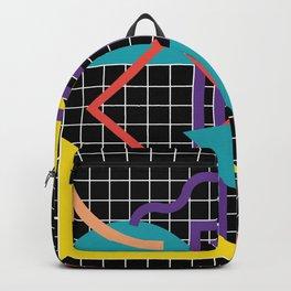 Memphis Pattern - 80s Retro Black Backpack