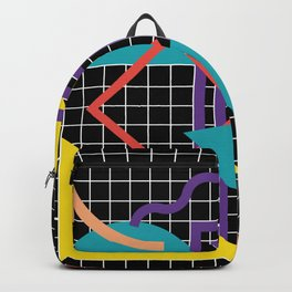 Memphis Pattern - 80s Retro Black Backpack
