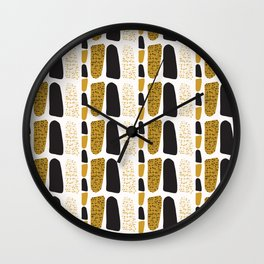 Yellow and Black Abstract Drawn Cryptic Symbols Wall Clock
