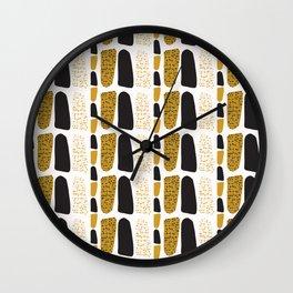 Yellow and Black Abstract Drawn Cryptic Symbols Wall Clock
