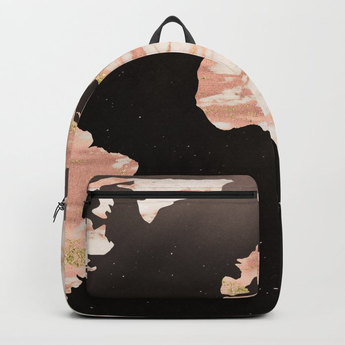 Earth Map Rose Gold Glitter Marble Space Backpack