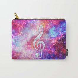 Galaxy Nebula Glitter Music Note Pink Space Carry-All Pouch