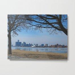Detroit Cityscape Framed Metal Print