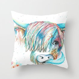 Highland Cattle full of colour Throw Pillow