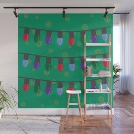 Christmas String Lights - Green Wall Mural