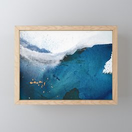 In the Surf: a vibrant minimal abstract painting in blues and gold Framed Mini Art Print