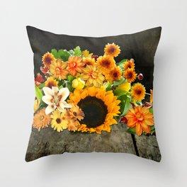 Fall Flowers on a Farm Table Throw Pillow