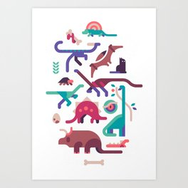 Dinos and a cat Art Print
