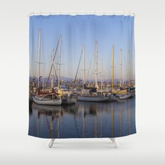 Sail Boats in the Harbor Shower Curtain