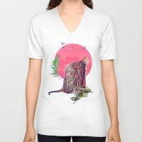 jaguar V-neck T-shirts featuring Jaguar by Ali GULEC