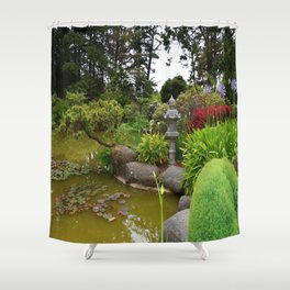 Japanese Garden Lantern Shower Curtain