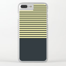 Navy stripes on yellow Clear iPhone Case