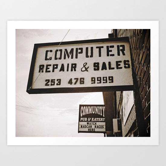 Computer repair shop Art Print