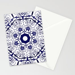 Blue and White Mandala Tile Pattern Stationery Cards