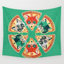 Pizza Slice Cats  Wall Tapestry
