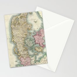 Vintage Map of Denmark (1801)  Stationery Cards
