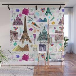 Voyage à Paris (Watercolor) Wall Mural