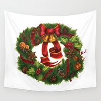 art nouveau Wall Tapestries featuring Christmas wreath. Art nouveau. by Mari Anrua