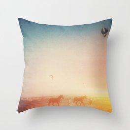 Beach Horses  Throw Pillow