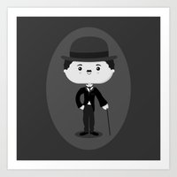 charlie chaplin Art Prints featuring Charlie Chaplin by Sombras Blancas Art & Design