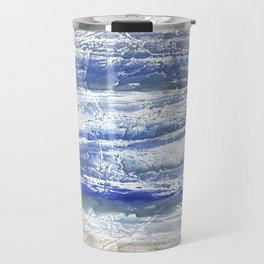 Gray Blue Marble blurred watercolor texture Travel Mug