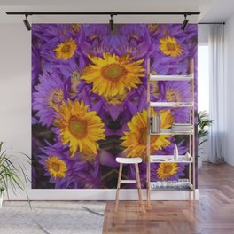 YELLOW SUNFLOWERS AMETHYST FLORALS Wall Mural