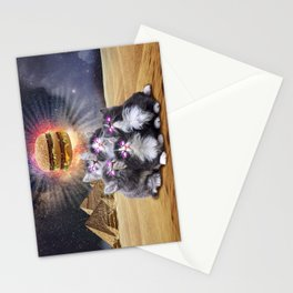 space cats looking for the burger Stationery Cards