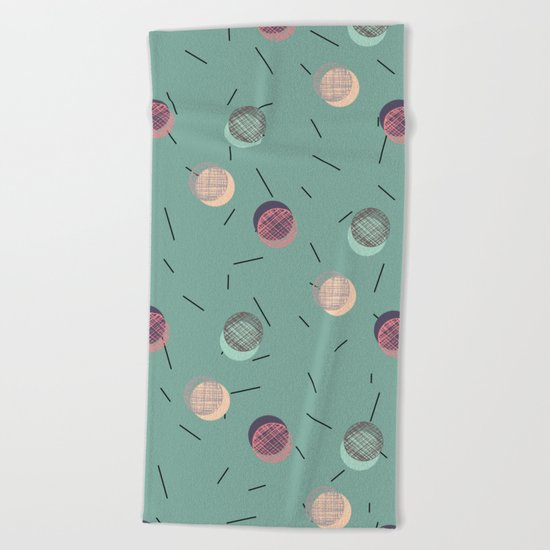 Scrawled Polka Dots and Sticks Beach Towel